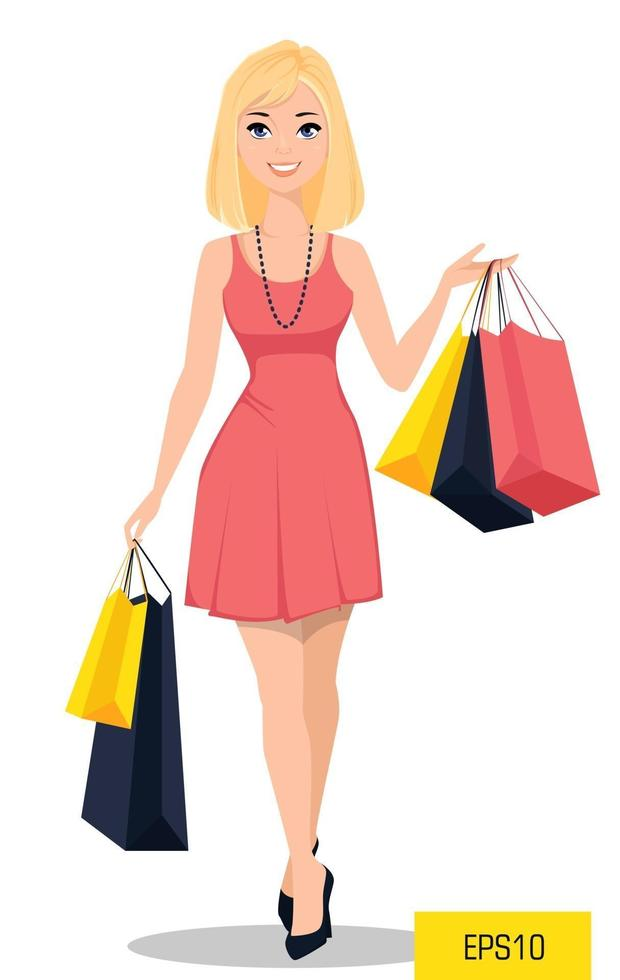 Blond woman goes shopping vector