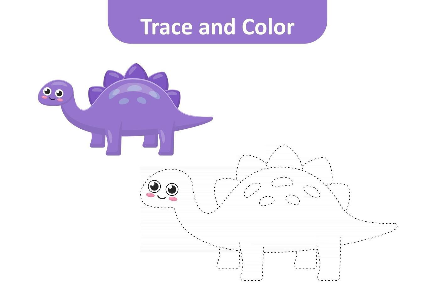 Trace and color for kids, dinosaur vector
