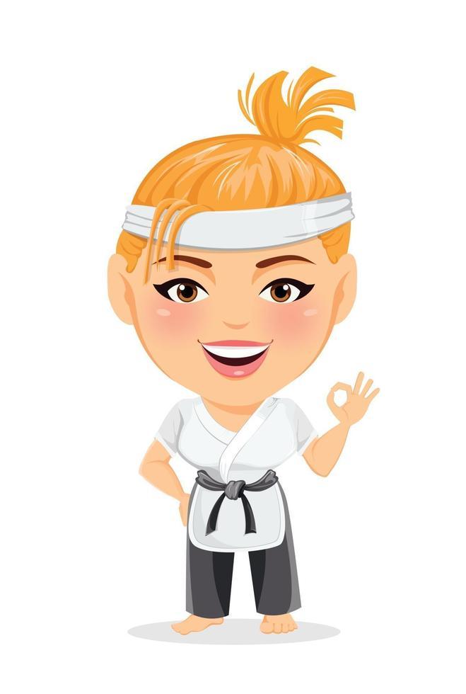 Karate woman in kimono. Smiling funny cartoon character with big head vector