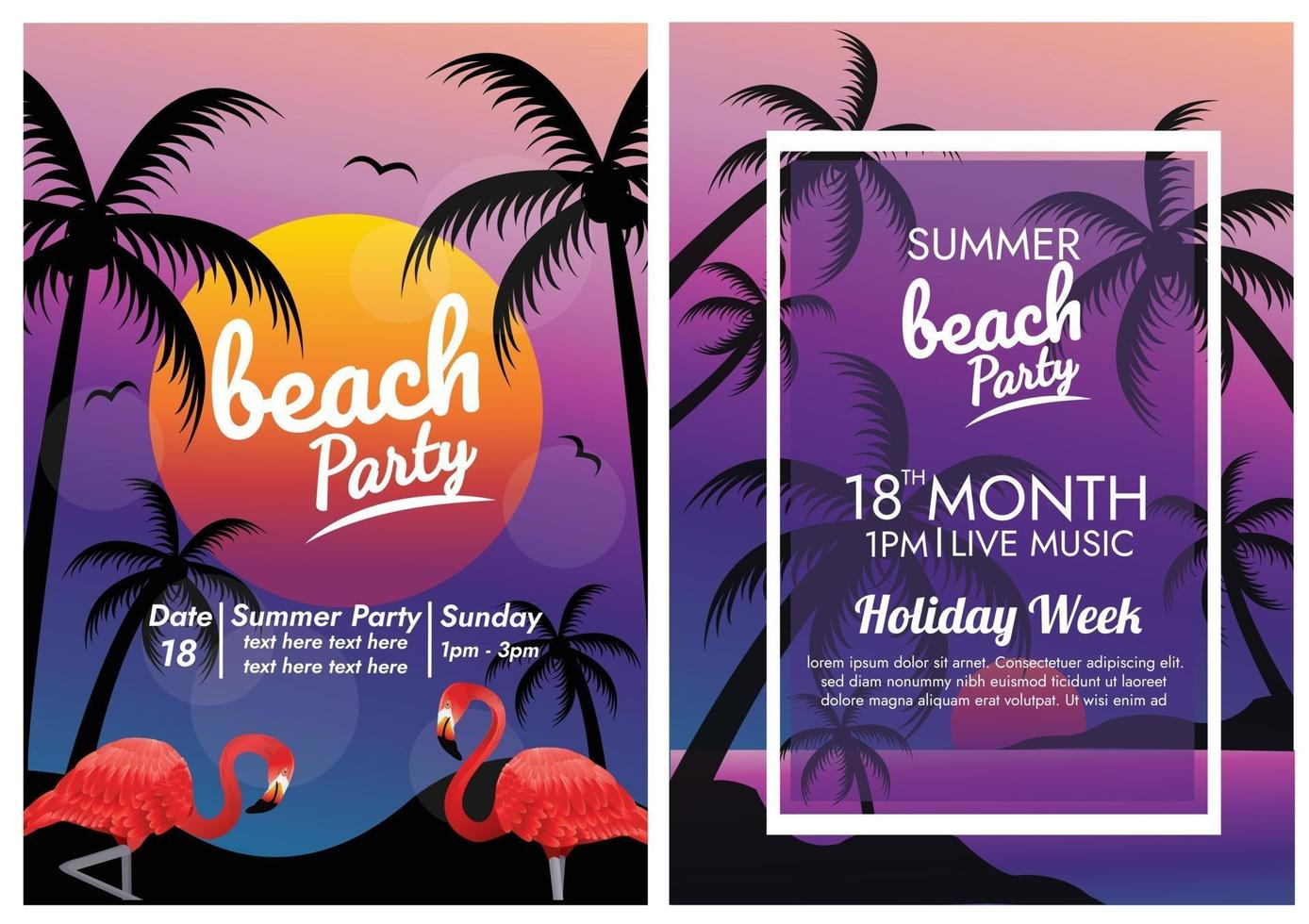 paradise beach party and music poster vector