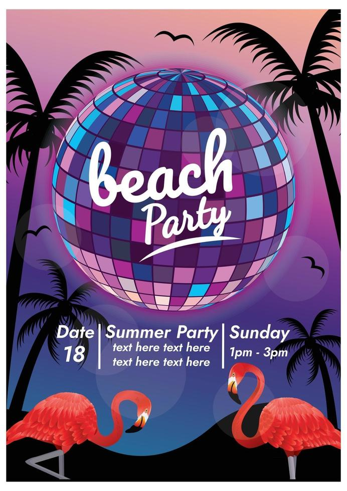 music festival poster for party on the beach vector