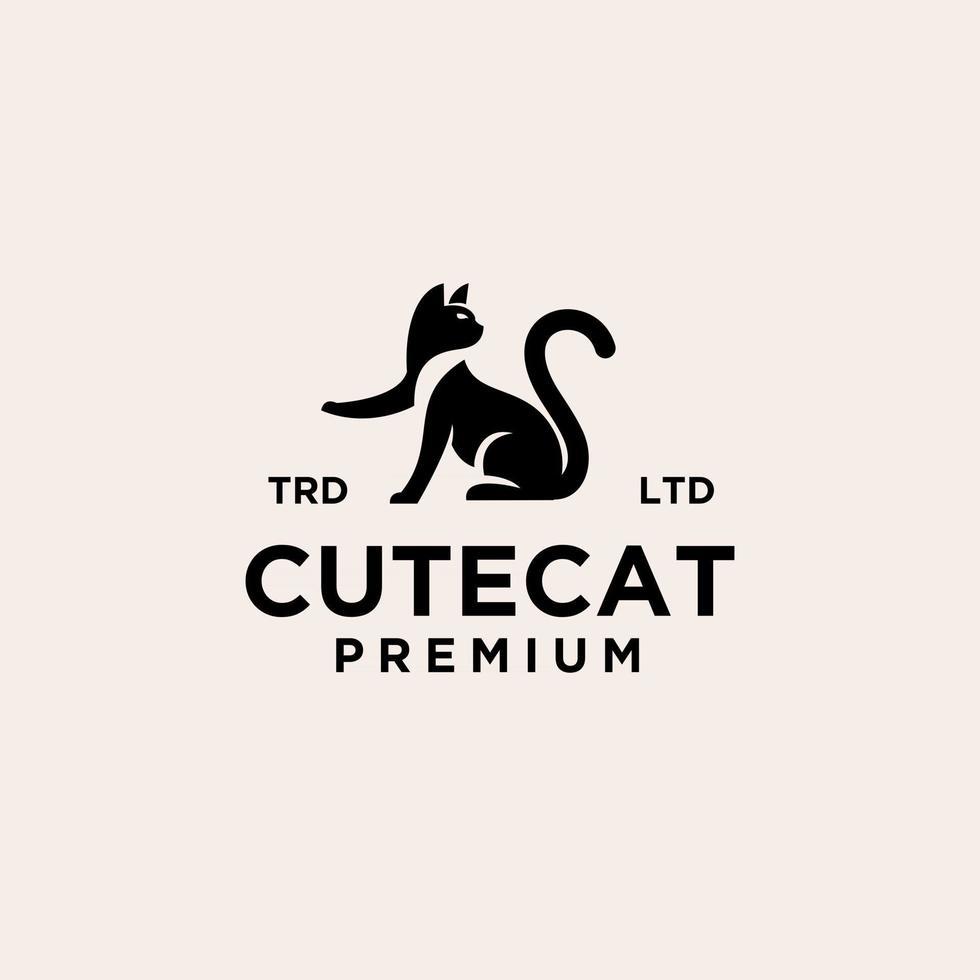 premium black cat vector logo design