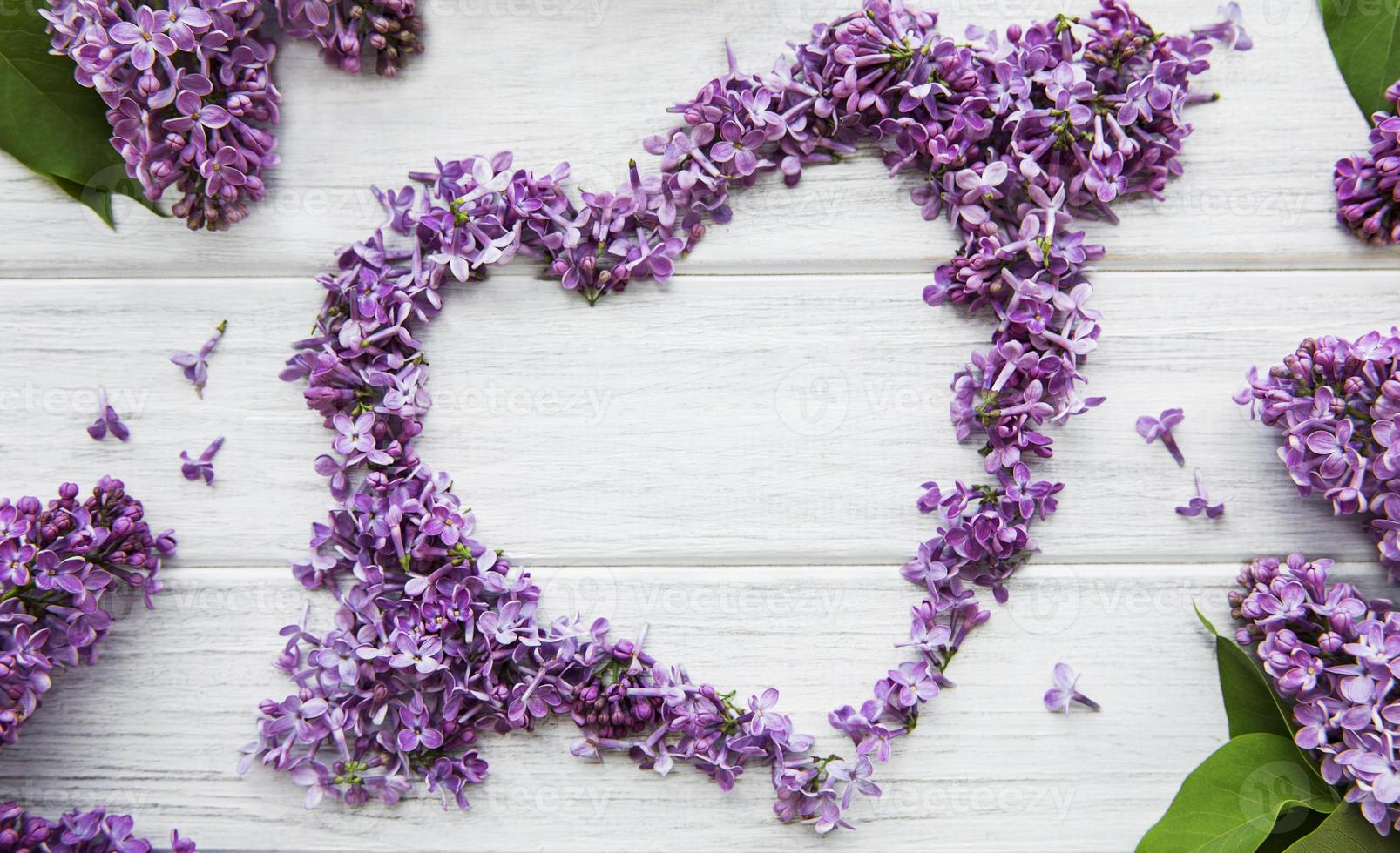 Frame of branches and flowers of lilac in the shape of a heart photo