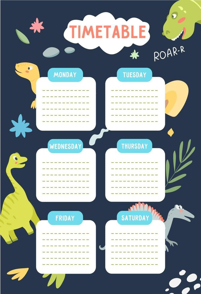 School timetable template for kids with dinosaurs in the background vector