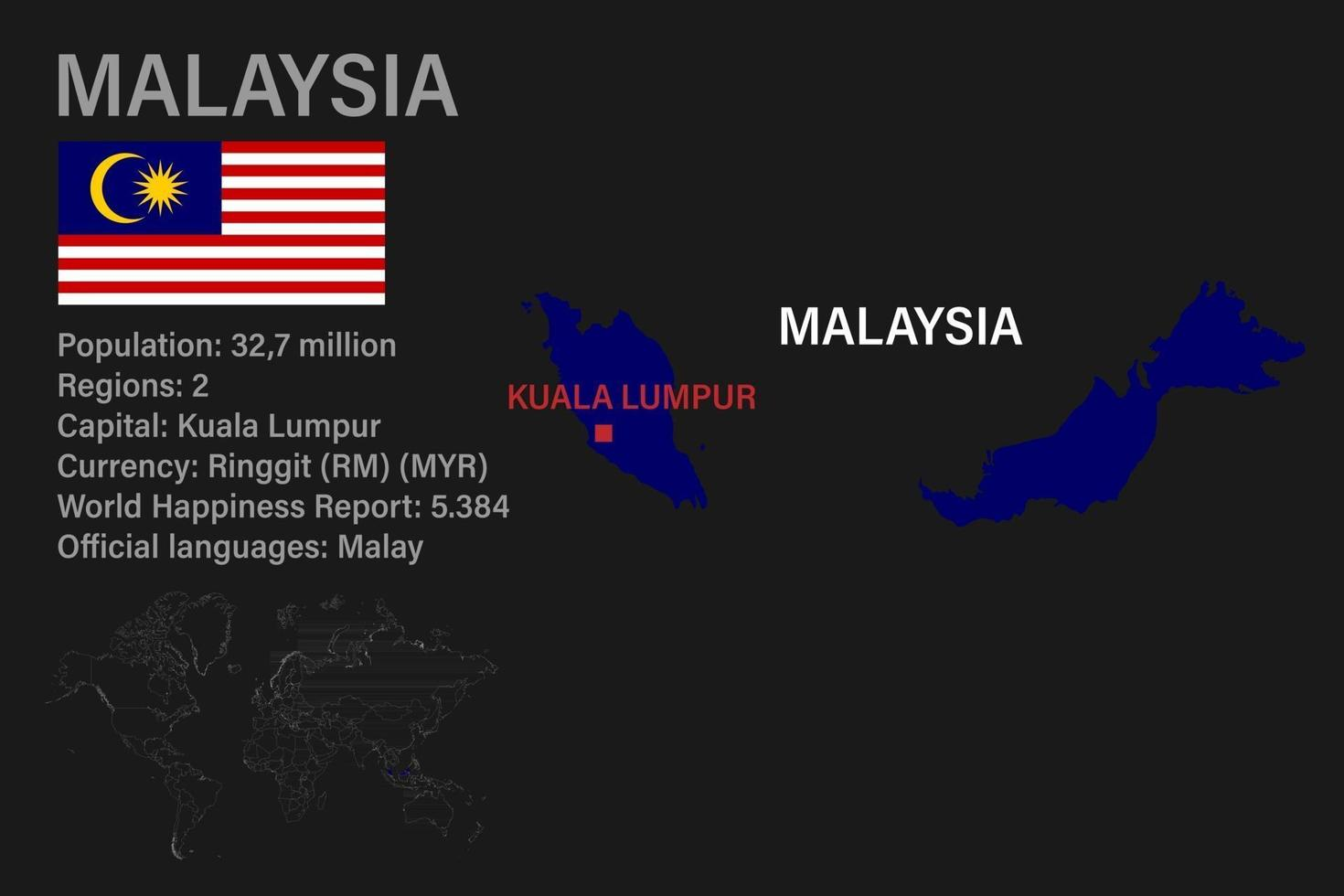 Highly detailed Malaysia map with flag, capital and small map of the world vector