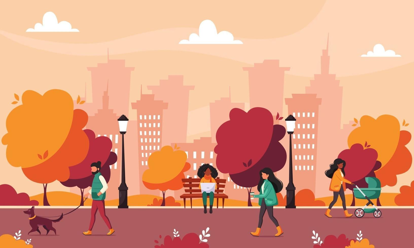 People doing various outdoor activities in autumn park vector