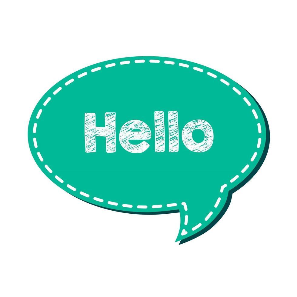 Hello letter dialog with cartoon style on Flat vector speech bubble.