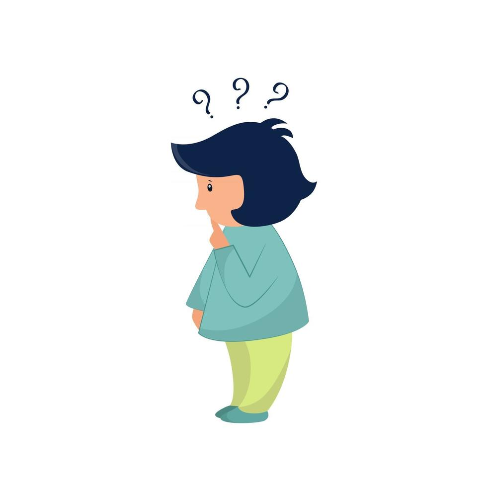 Vector illustration of a little child with questions