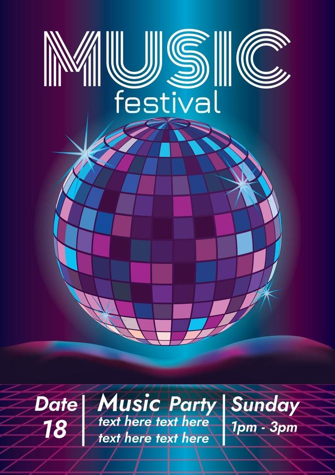 music disco music festival poster for party vector