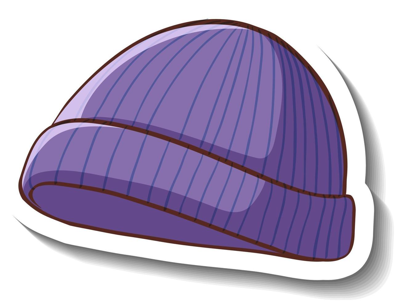 A sticker template with a purple beanie hat isolated vector