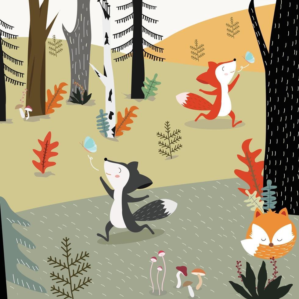 cute fox in forest cartoon. vector