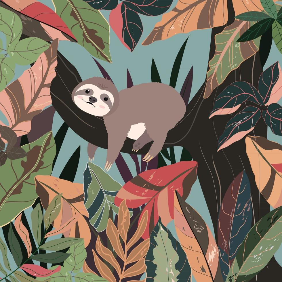 Cute baby sloth in colorful forest. vector