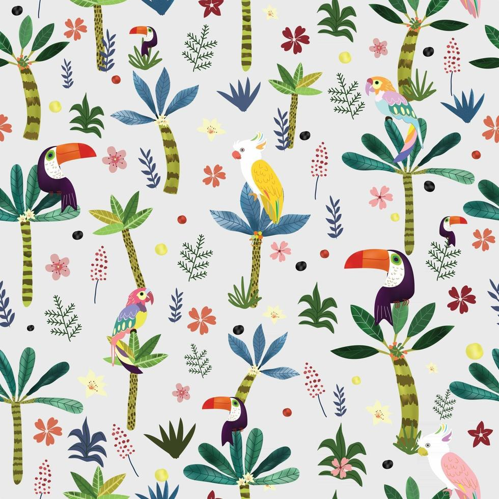 Cute bird in botanical tropical forest seamless pattern. vector