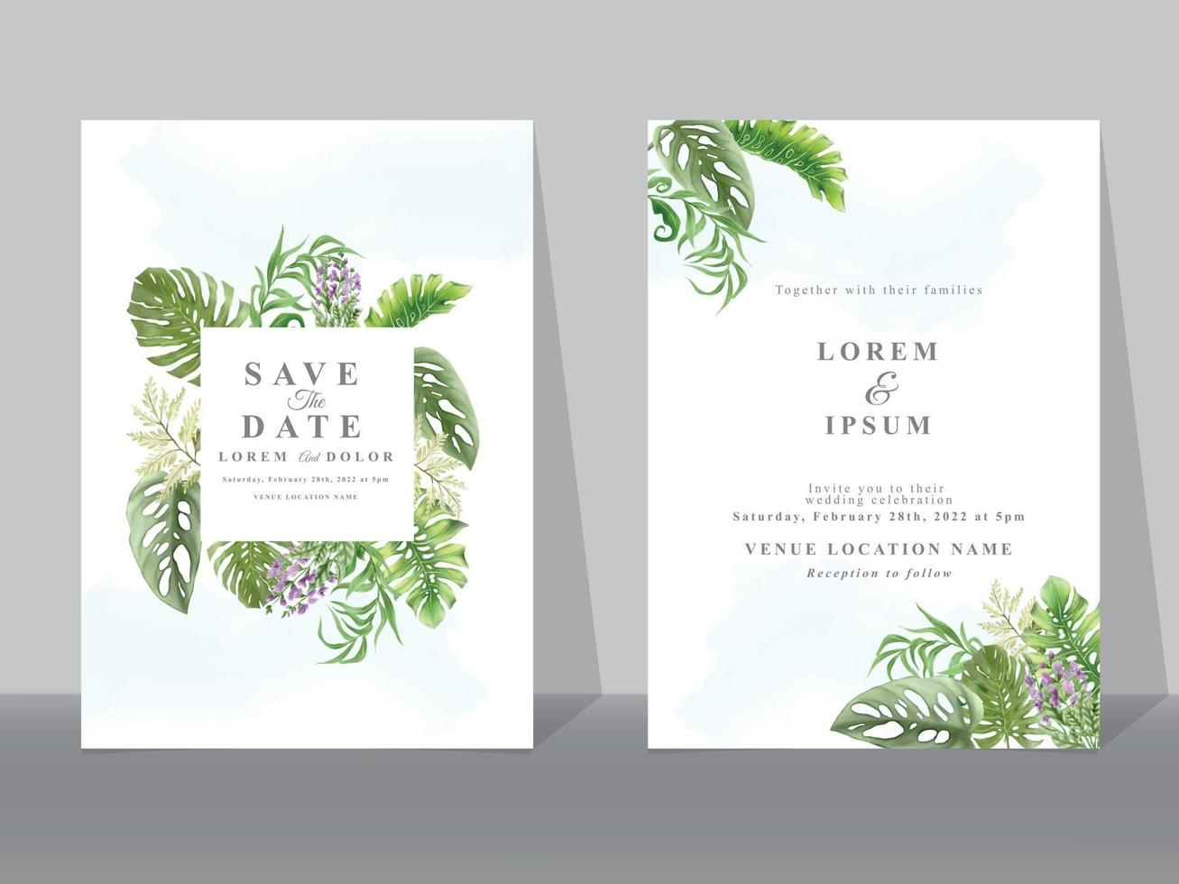 Wedding invitation cards with greenery tropical leaves vector