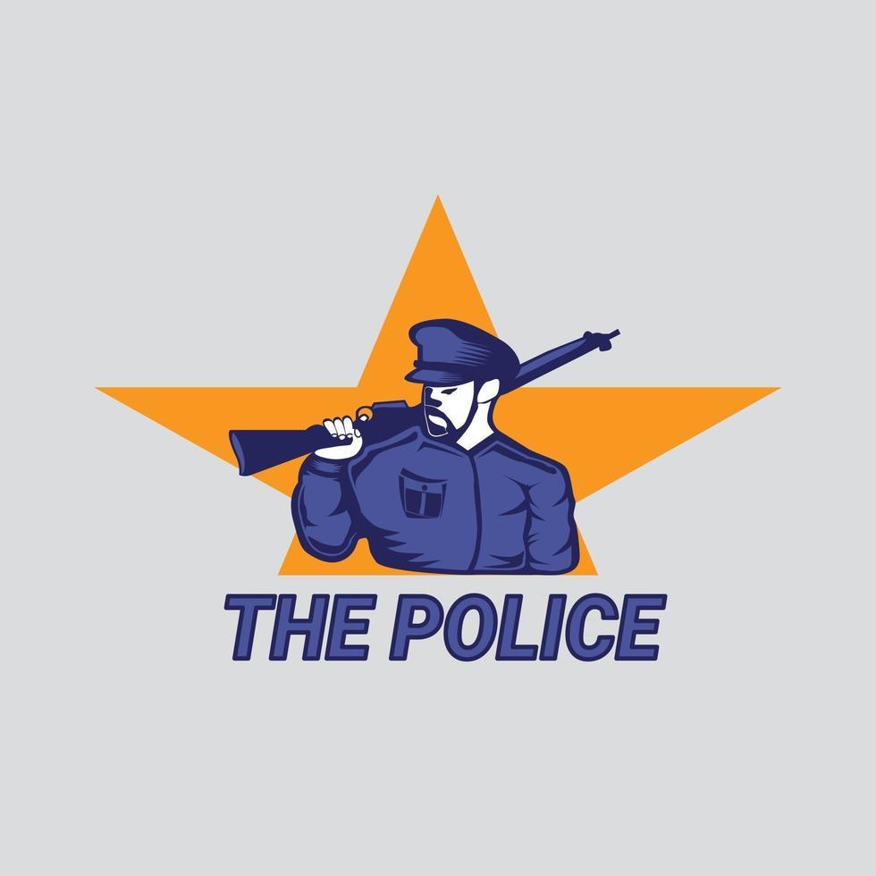El policía con ilustración de pistola larga para diseño de mascota o camiseta vector