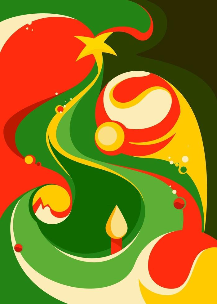 Poster with abstract christmas tree. vector