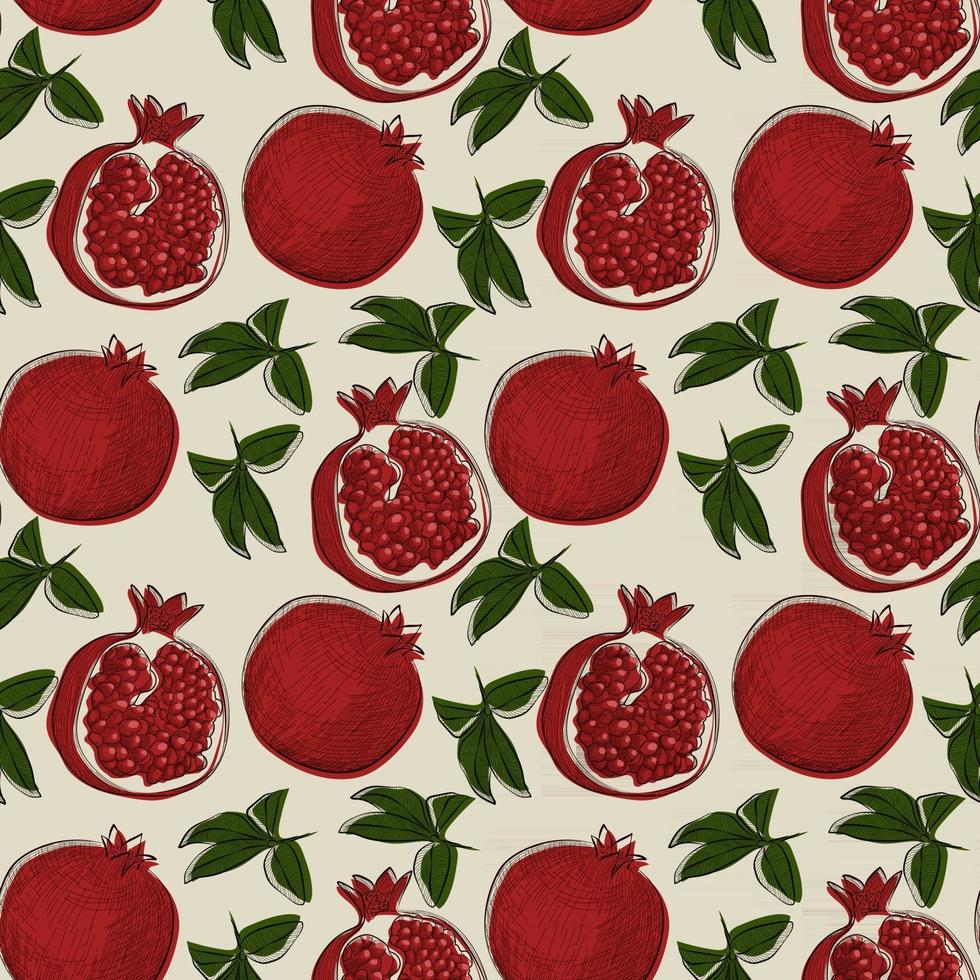 Seamless pattern with pomegranate fruit in hand drawn sketch style. vector