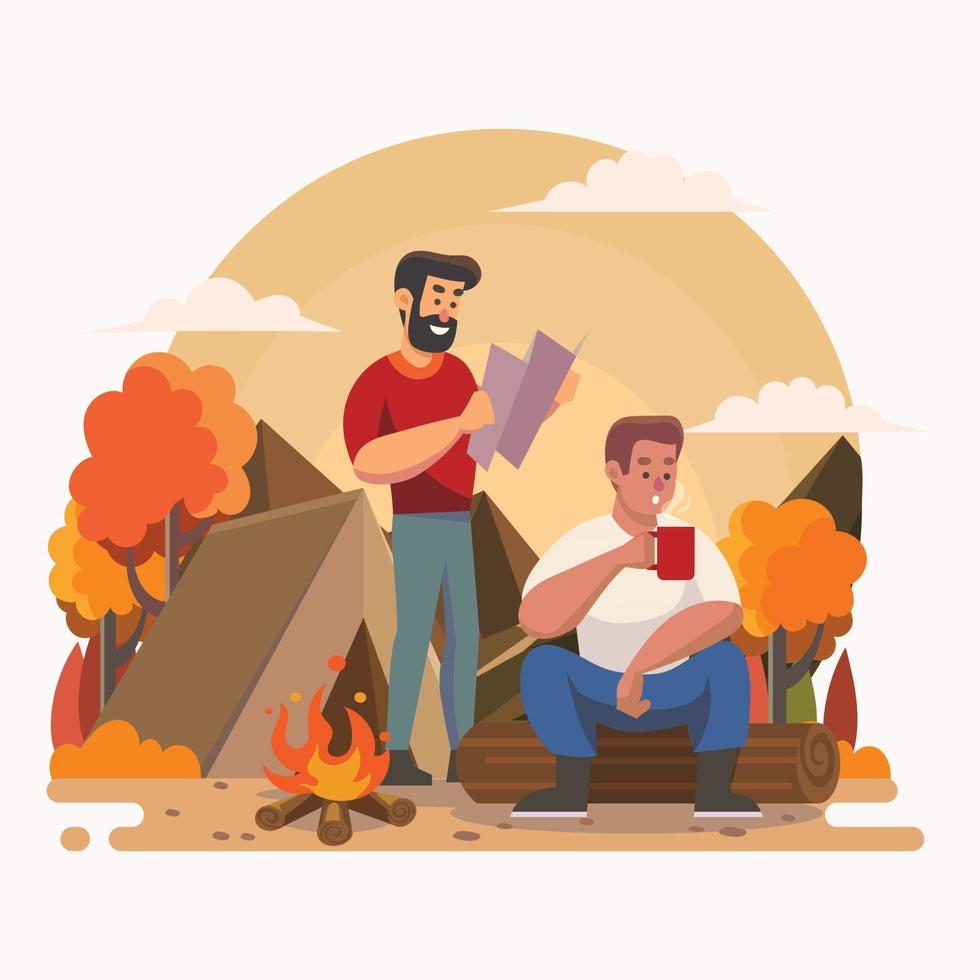 Two Man Resting at Camp Fire in Forest vector