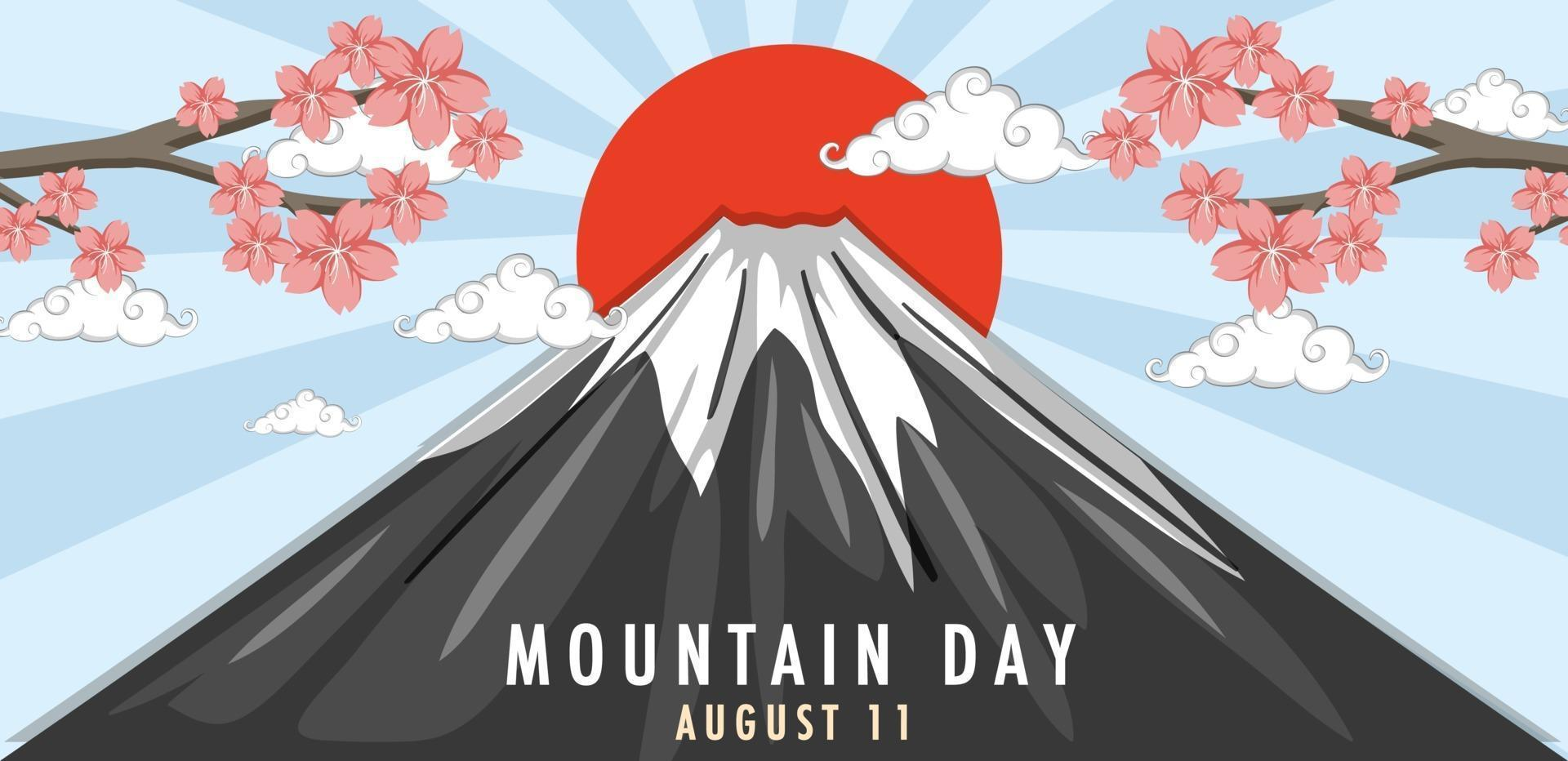 Mountain Day in August 11 banner with Mount Fuji and Sun Rays vector