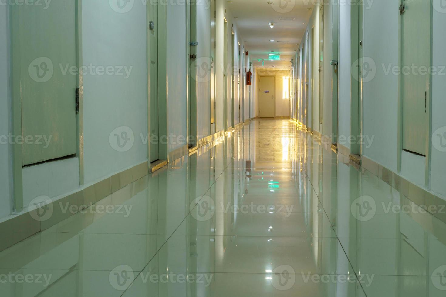 Walkway in the condo with lighting of sunlight background photo