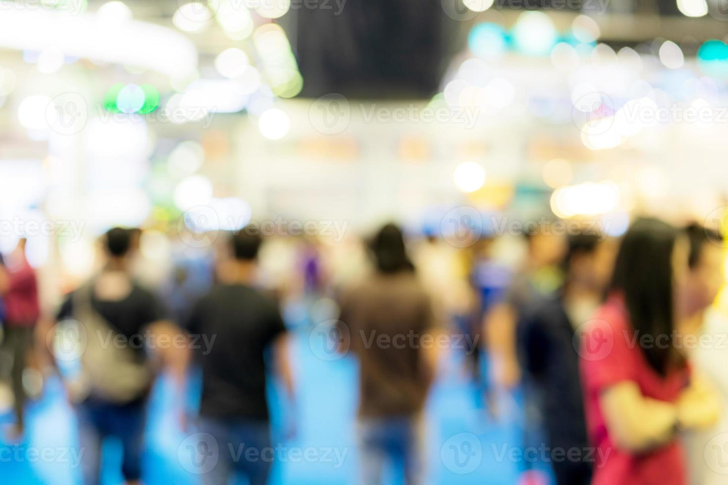 Blur image background of people in exhibition show photo