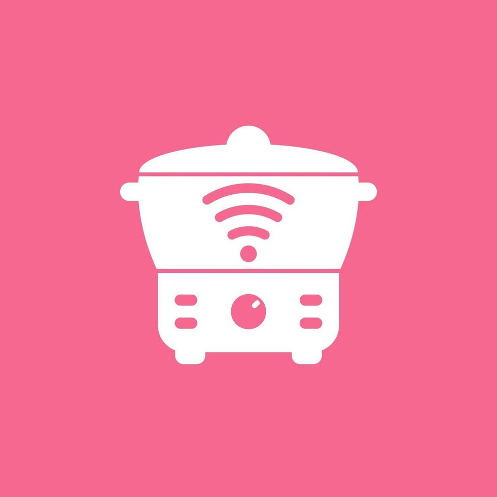 smart cooker icon, steamer, crock-pot vector