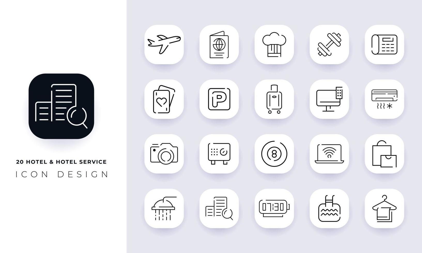Line art incomplete hotel and hotel service icon pack. vector