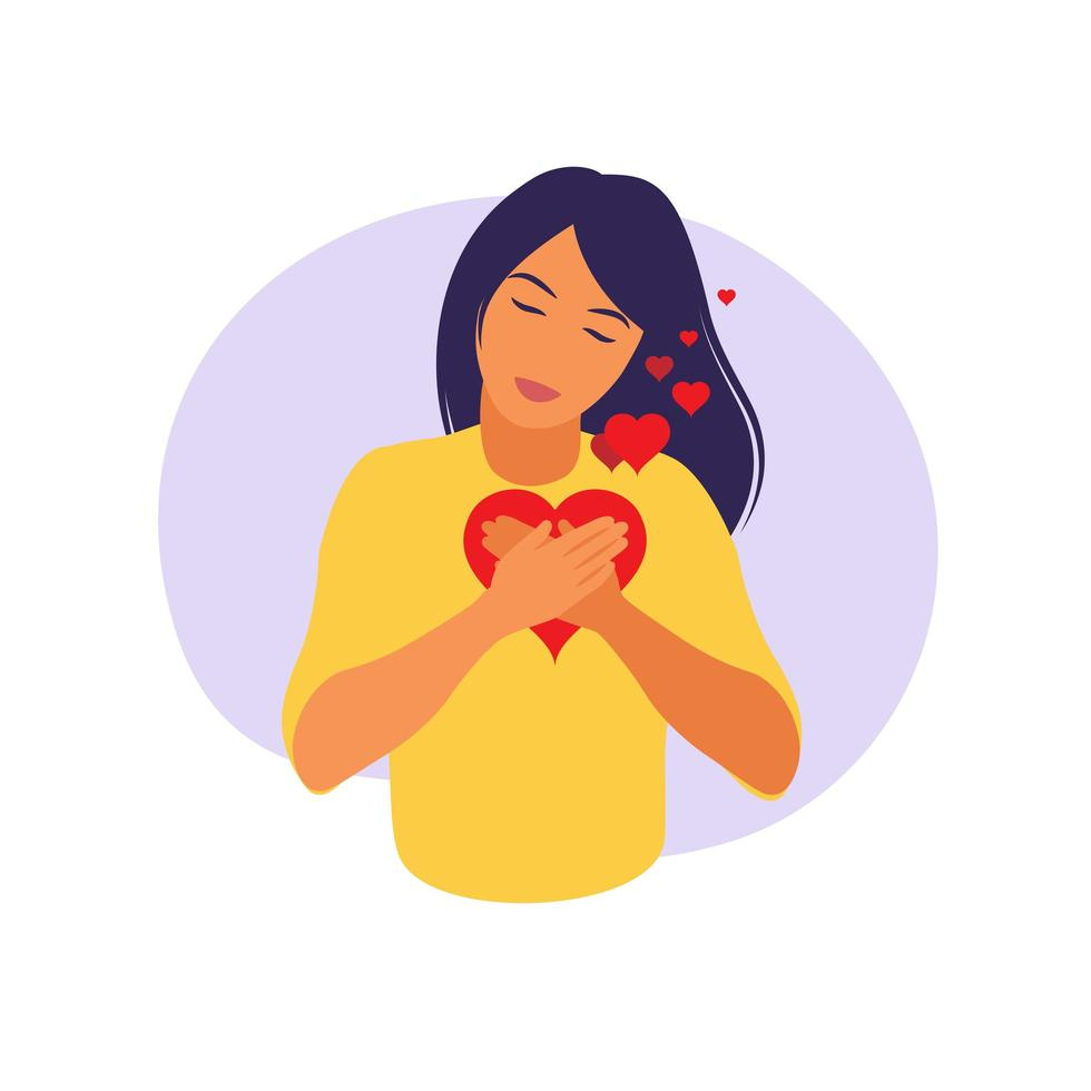 Young woman hugs a big heart with love and care. vector