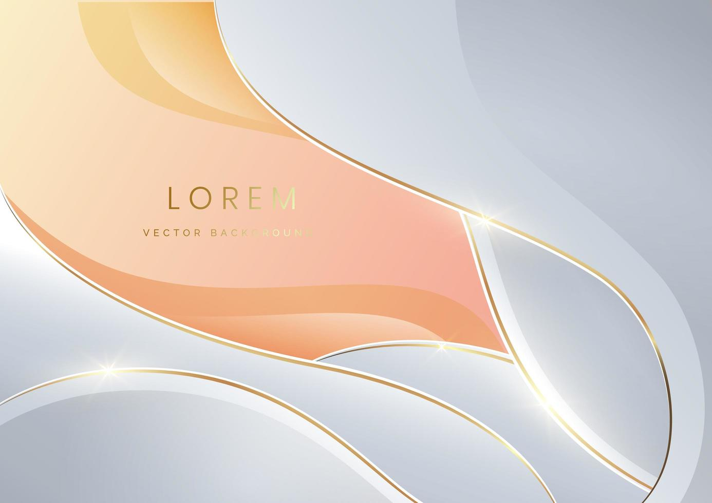 Abstract white luxury background 3d overlapping with gold lines curve. vector