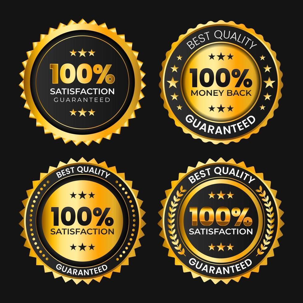 hundred percent satisfaction guaranteed golden black badge collection vector