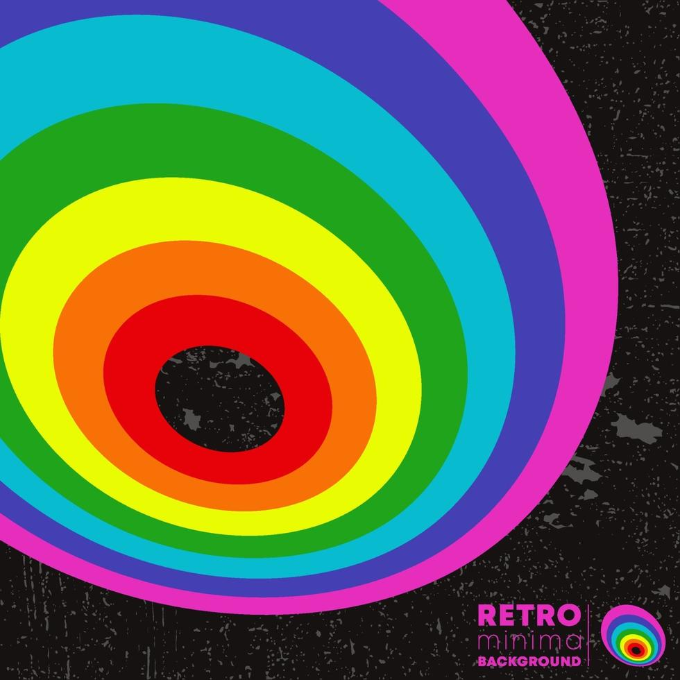 Retro design poster with vintage grunge texture and colored lines vector