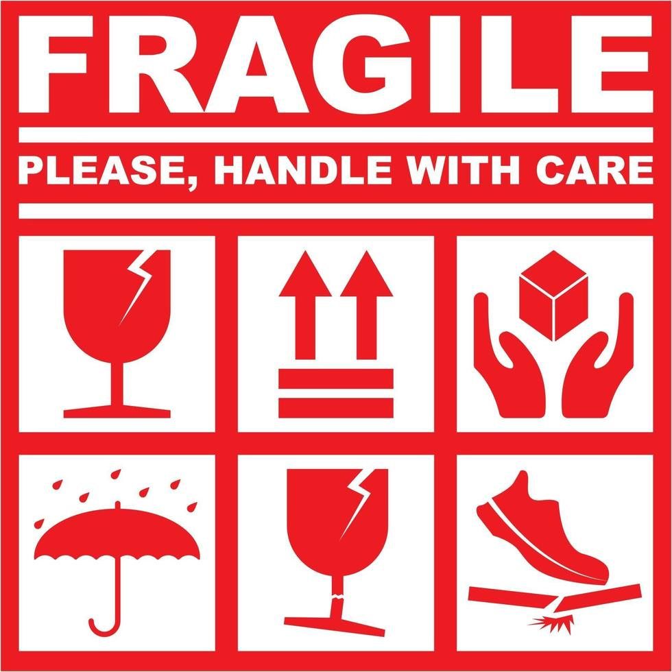 Printable Fragile Please Handle With Care White Red Color 3015754 Vector Art At Vecteezy