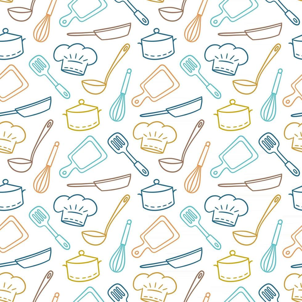 Hand drawn seamless pattern on the theme of chef, kitchen and cook vector