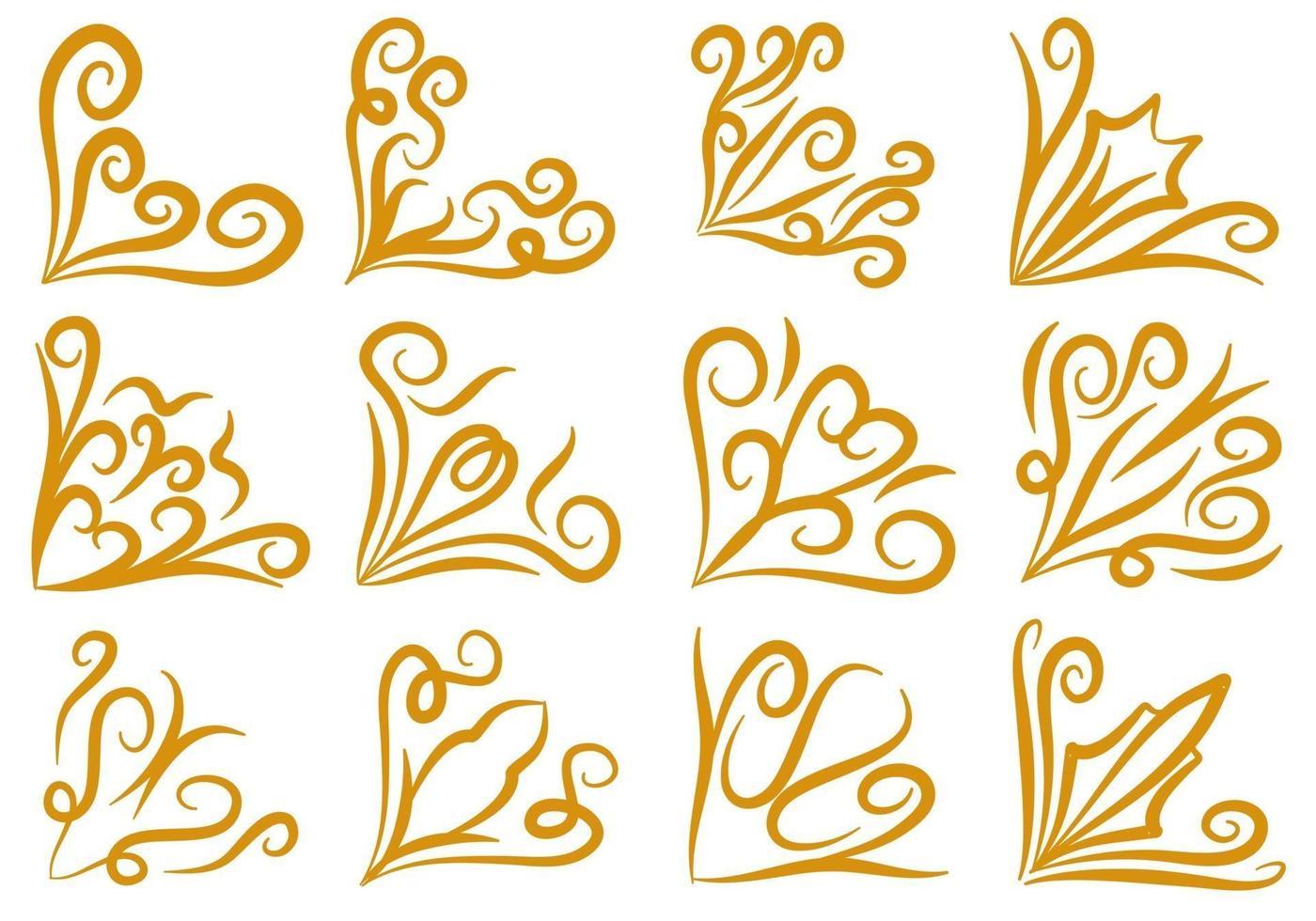 Set of Gold Doodle Corner Borders vector