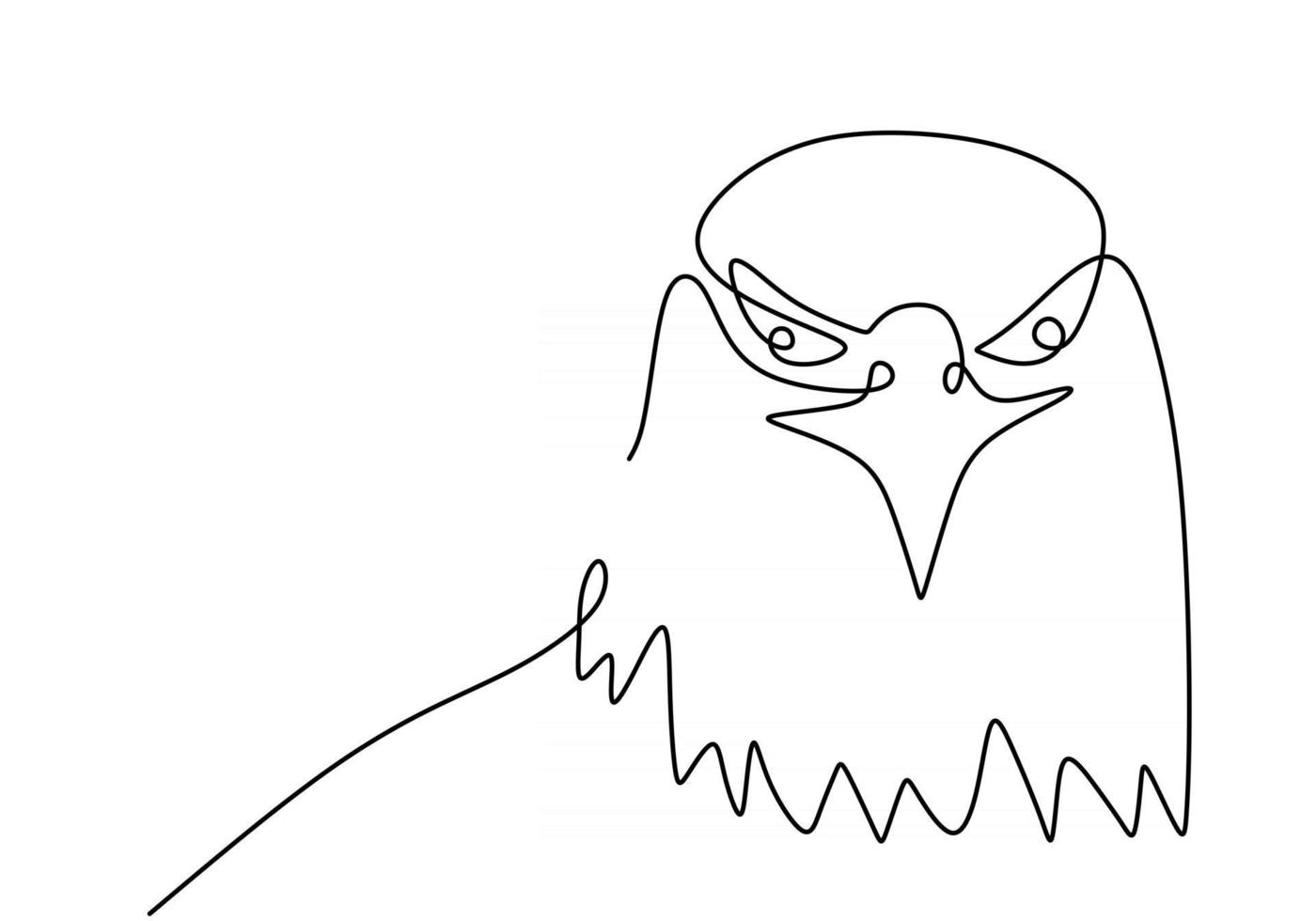 Continuous one line drawing of eagle vector