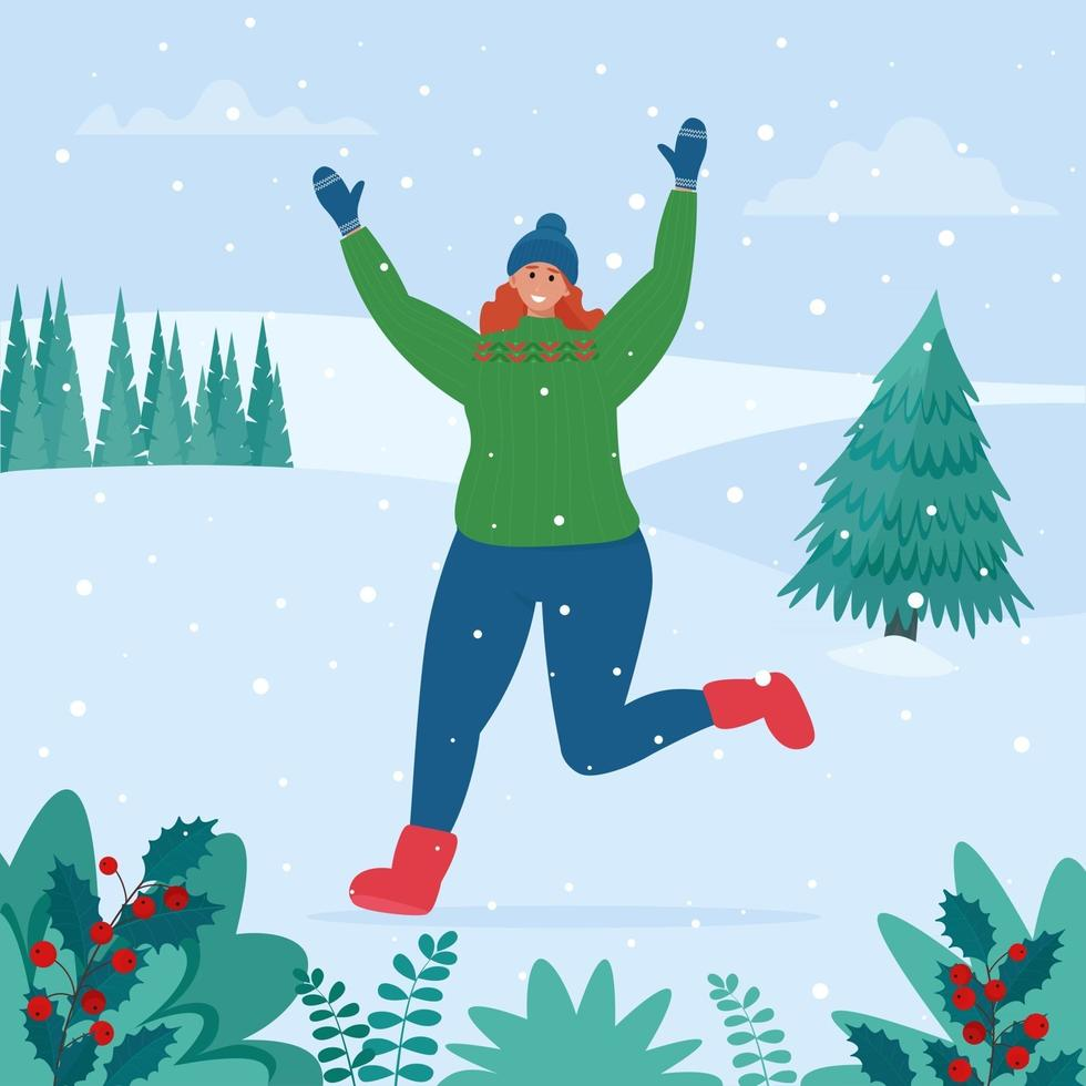 Girl rejoices in the snow. Winter fun on snowy landscape vector