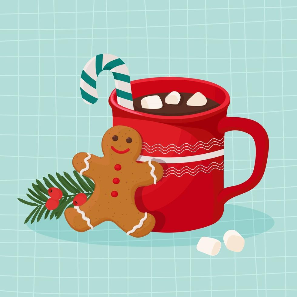 Hot chocolate with marshmallow and gingerbread cookie vector