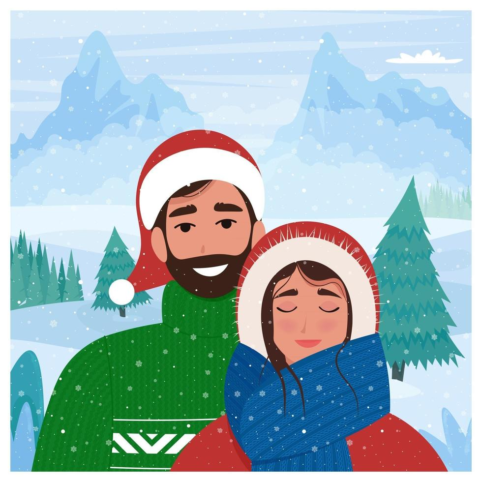 Lovely couple in winter background. vector illustration in flat style