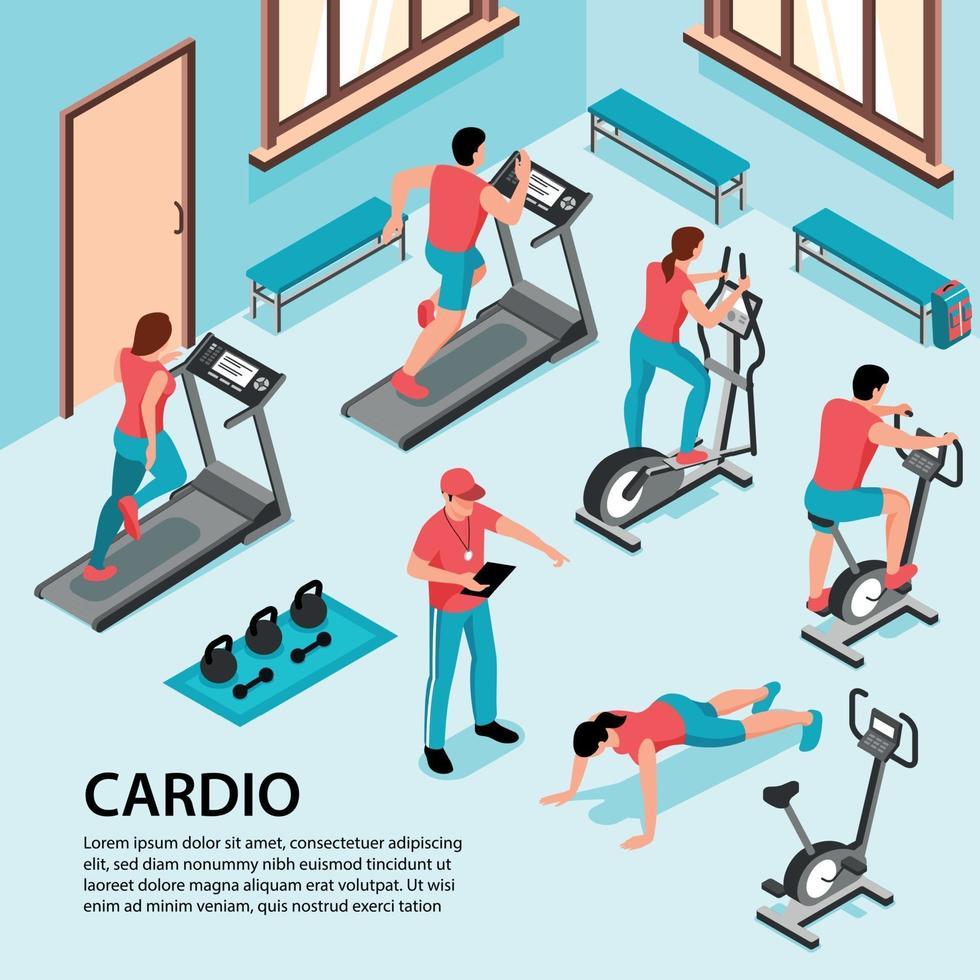 Cardio Gym Isometric Background Vector Illustration