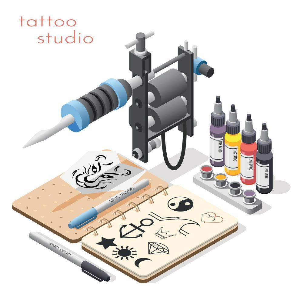 Tattoo Studio Isometric Background Vector Illustration