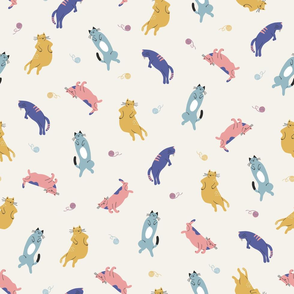 hand-drawn colorful cat animal illustration seamless repeat pattern vector