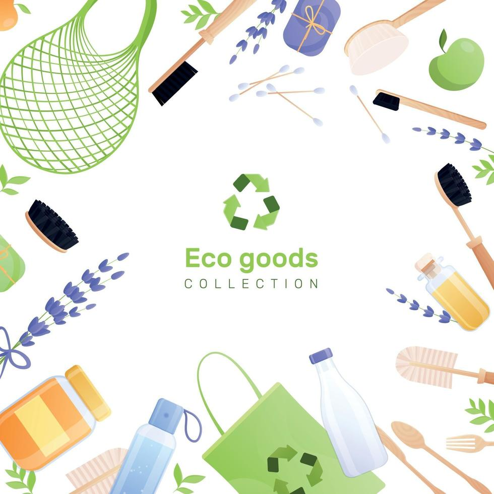 Eco Goods Flat Background Composition Vector Illustration