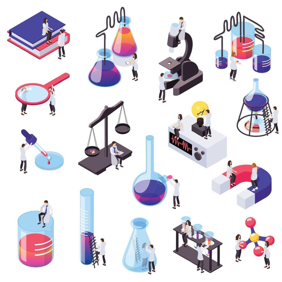 Science Isometric Set Vector Illustration