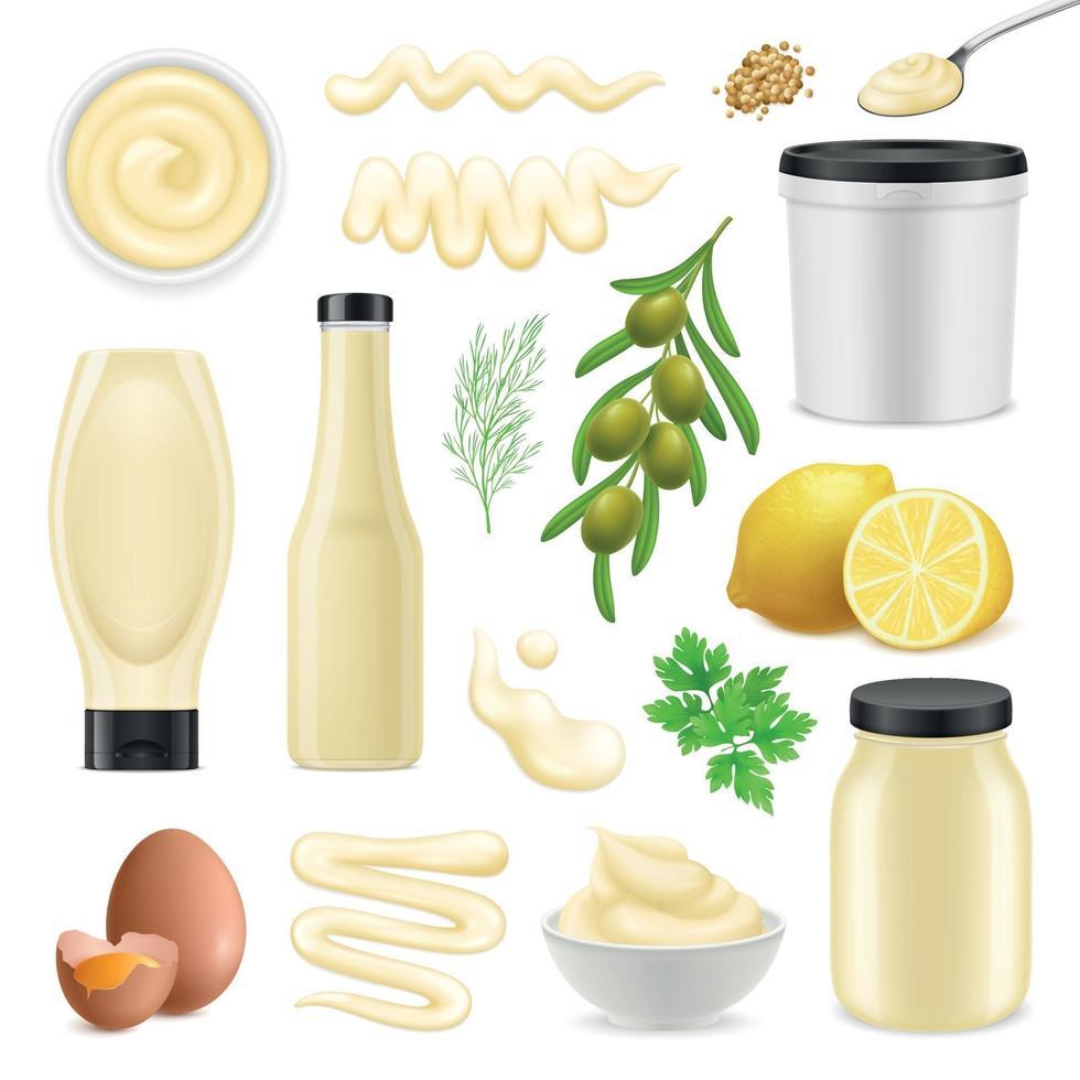 Realistic Mayonnaise Set Vector Illustration