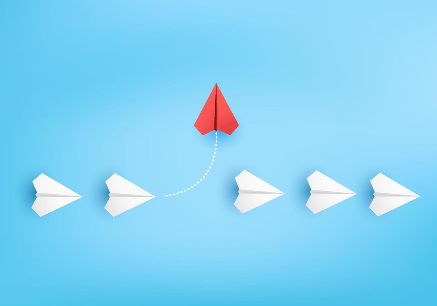 Business concept minimal as group of paper plane in one direction. vector