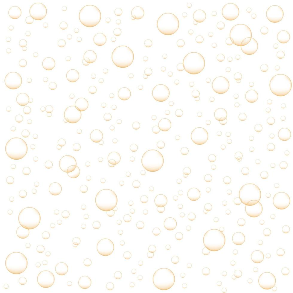 Golden air bubbles of champagne, soda, sparkling carbonated drink vector