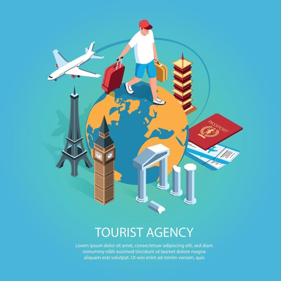 Tourist Agency Isometric Background Vector Illustration