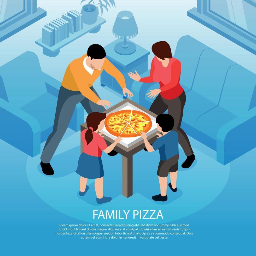 Family Pizza Isometric Background Vector Illustration