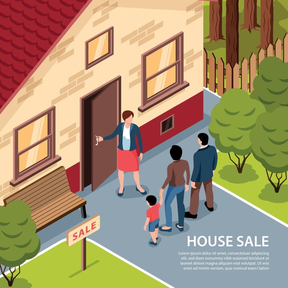 House Sale Isometric Background Vector Illustration