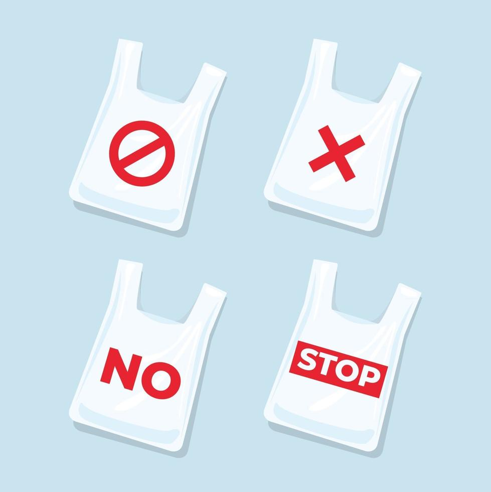 No plastic bags signs and icons set. vector